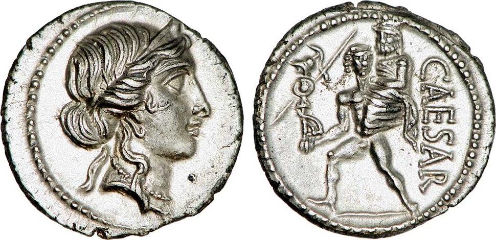 Denier frappé sous César célébrant le mythe d'Enée et d'Anchise