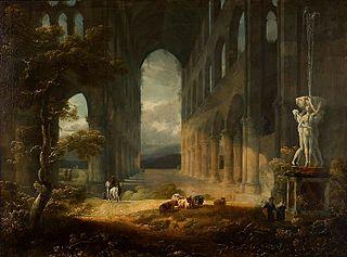 Fantastyczne ruiny ze sceną pasterską