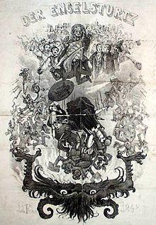 """""""Der Engelsturtz"""" – Ausschnitt aus einem satirischen Flugblatt aus Bayern zur Affäre mit Lola Montez (wohl 1848) (Quelle: Wikimedia)"""