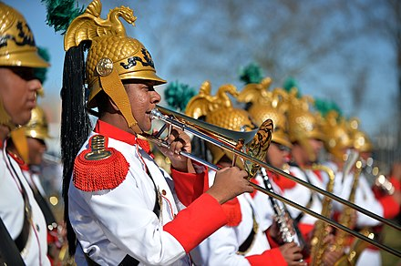 The Military Band of the Independence Dragoons (1st Cavalry Regiment), the official presidential band of Brazil and one of two senior bands under the Brazilian Army. Desfile de 7 de Setembro (15169547066).jpg