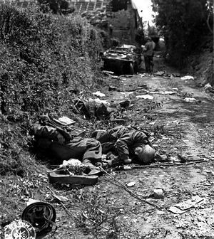 2nd Parachute Division (Germany) - A destroyed convoy from the 6th Regiment being examined by American troops in Normandy, July 1944