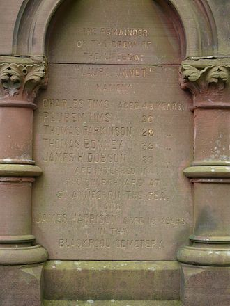 """Mexico (barque) - Detail of memorial at St Cuthbert's Church, Lytham, Lancashire, UK to the loss of the RNLI lifeboat """"Laura Janet"""" 9 December 1886."""