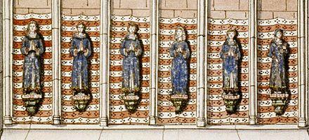 Gravure en couleurs du XVIIIesiècle représentant les tombeaux de la famille de Louis IX.
