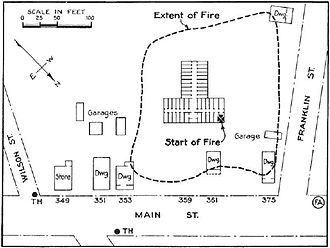 1937 Fox vault fire - Map of the area involved in the fire