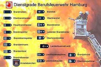 German fire services - Rank insignia of the Professional Fire Department of Hamburg.