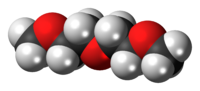 Space-filling model of the diglyme molecule
