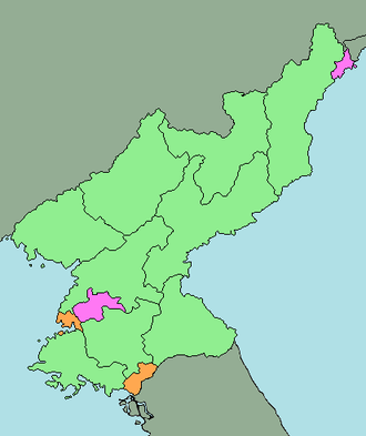 Special cities of North Korea - Image: Directly Governed Cities North Korea