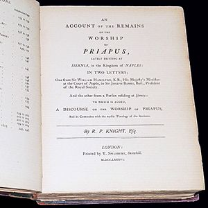 George Witt (collector) - Frontispiece of Discourse on the worship of Priapus and its connection with the mystic theology of the ancients by Richard Payne Knight as republished by Witt in 1865