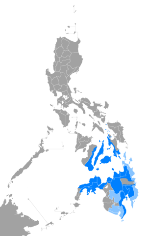 Cebuano people - Distribution of the Cebuano language in the Philippines.
