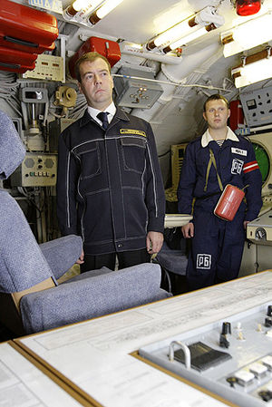 "Supreme Commander-in-Chief of the Armed Forces of the Russian Federation - Supreme Commander-in-Chief Dmitry Medvedev on missile submarine strategic K-433 ""St. George the Victorious"". September 25, 2008"