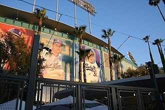 Los Angeles Dodgers - Former Dodger greats who played in both Brooklyn and Los Angeles adorn the exterior of Dodger Stadium.
