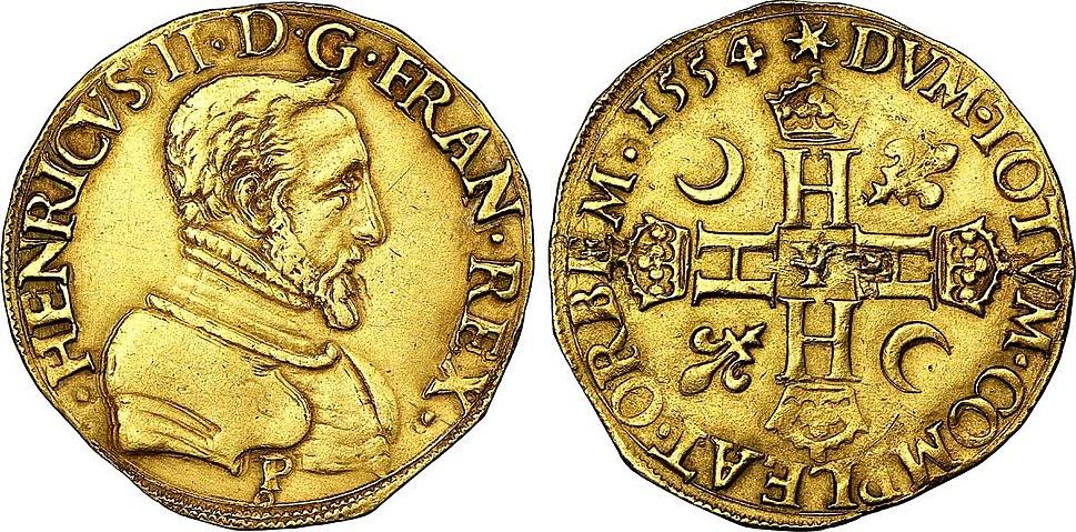 Double henri d'or a l'effigie d'Henri II, 1554, Bourges