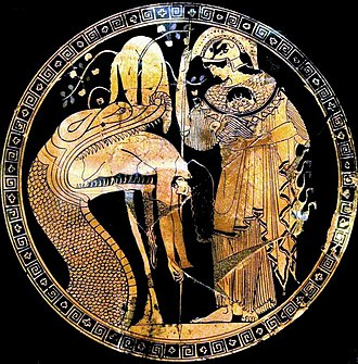 Golden Fleece - The Douris cup, depicting Jason being regurgitated by the dragon protecting the fleece