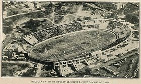 Aerial yearbook photo of large football stadium