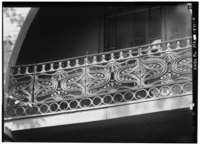 EAST FRONT, DETAIL OF CAST IRON BALUSTRADE - Sara Coburn House, 7 Dana Street, Cambridge, Middlesex County, MA HABS MASS,9-CAMB,43-2.tif