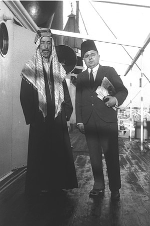 Falastin (newspaper) - Issa El-Issa with King Ali of Hejaz at the Jaffa port, 7 November 1933.