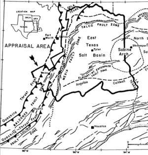 East Texas Oil Field - East Texas Basin geologic map
