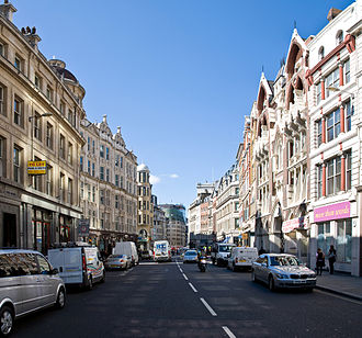 Eastcheap - Eastcheap in 2007, looking west towards Monument. The building with the two gables on the right is the Victorian Gothic 33-35 Eastcheap.