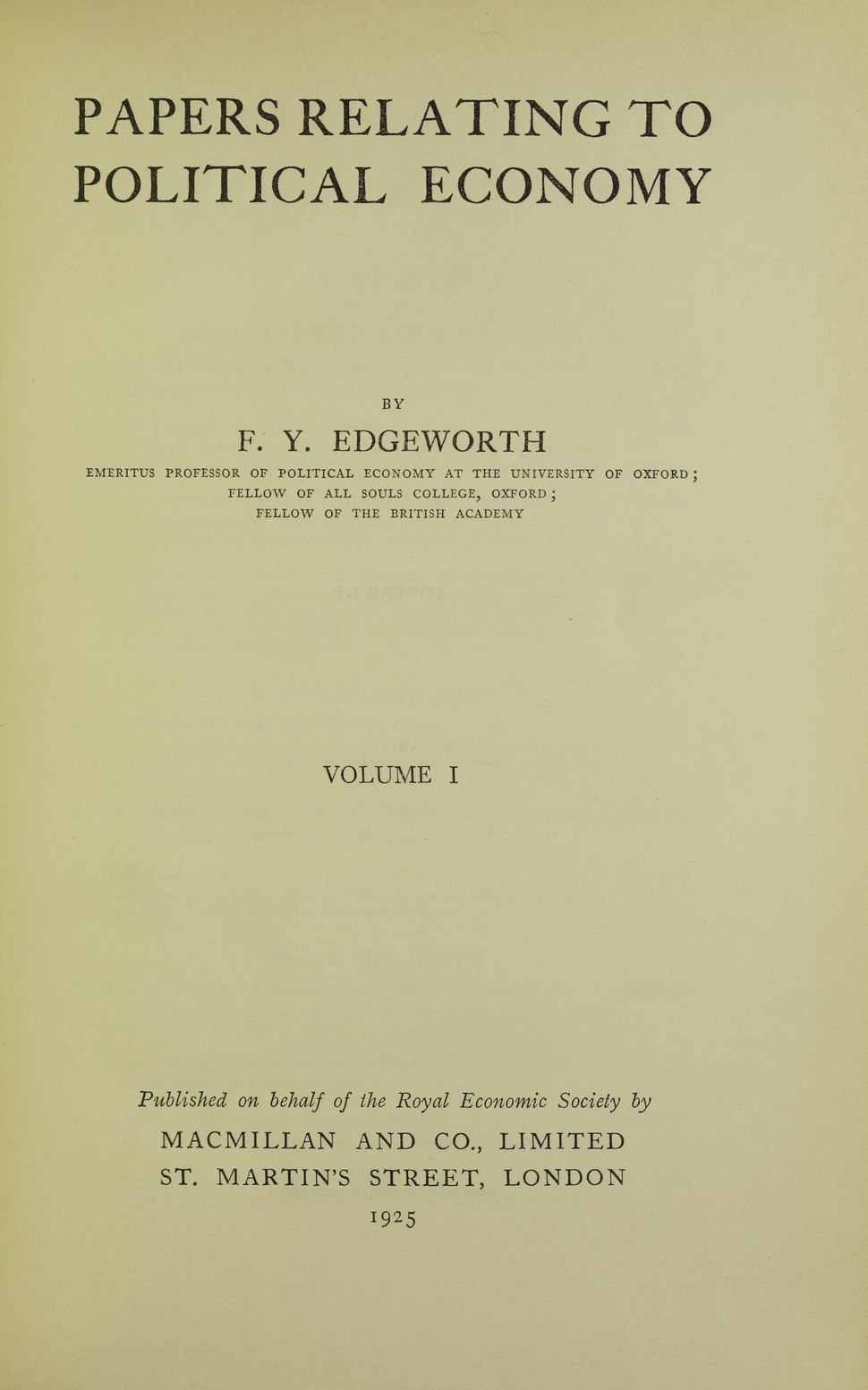 Edgeworth - Papers relating to political economy, 1925 - 5771271