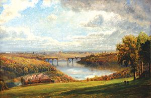 Pennsylvania Railroad, Connecting Railway Bridge - Image: Edmund Darch Lewis A View of Philadelphia from Belmont Plateau 1873