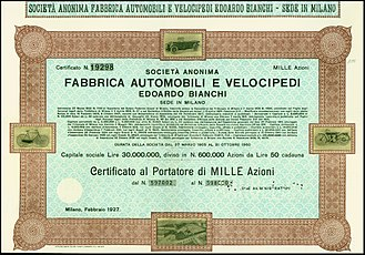 Bianchi (company) - Share of the Fabbrica Automobili e Velocipedi Edoardo Bianchi from February 1927, unissued