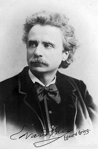 Edvard Grieg - Grieg in 1888, with signature, portrait published in The Leisure Hour (1889)