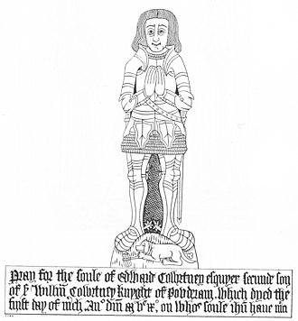Manor of Powderham - Monumental brass of Edward Courtenay (d.1509/10) of Landrake, Cornwall,  2nd son of Sir William I Courtenay (d.1485) of Powderham. Landrake Church