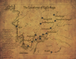 Egil's Saga - A reference map of Egil's Saga zoomed in on Western Iceland (Borgarfjord)