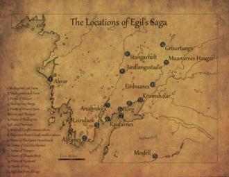 Egil's Saga - A reference map of Egil's Saga zoomed in on Western Iceland (Borgarfjord)