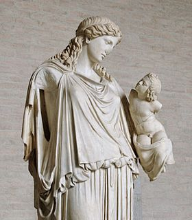 Eirene with the infant Ploutos: Roman copy after Kephisodotos' votive statue, c. 370BCE, in the Agora, Athens