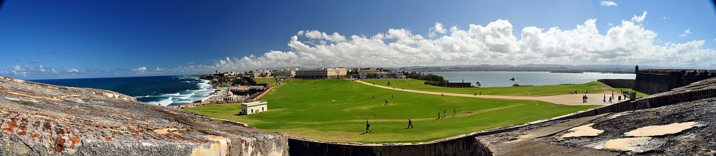 A panoramic view of Old San Juan, Puerto Rico from atop Fort San Felipe del Morro