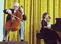 Elena Rostropovich and her father Mstislav Rostropovich perform at the white house in 1978.jpg