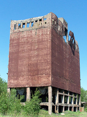 Bergius process - Ruins of coal elevator in a synthetic gasoline plant from WWII (IG Farben Industrie Police, Poland)
