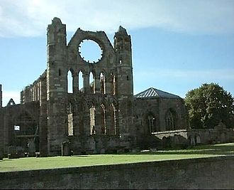 Andrew Moray - Elgin Cathedral, from the west. Construction of it was begun under the supervision of Bishop Andrew Moray.