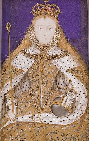 Coronation of Elizabeth I of England - Elizabeth I of England in her coronation robes; a miniature of circa 1600, after a lost original