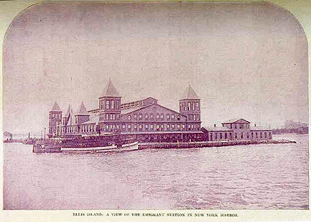 First Ellis Island Immigrant Station, built in 1892 and destroyed 1897 Ellis Island First Bldg Burnt 15-June-1897.jpg