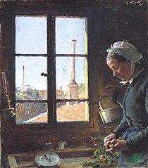 Portrait de sa mère épluchant un navet, devant une fenêtre