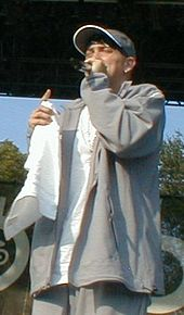 Eminem onstage, in a gray jacket and baseball cap
