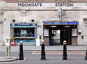 Moorgate station - Entrance to Moorgate prior to Crossrail works