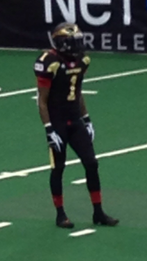 Iowa Barnstormers - Erick McIntosh wearing the Barnstormers' 2013 all black home uniform.