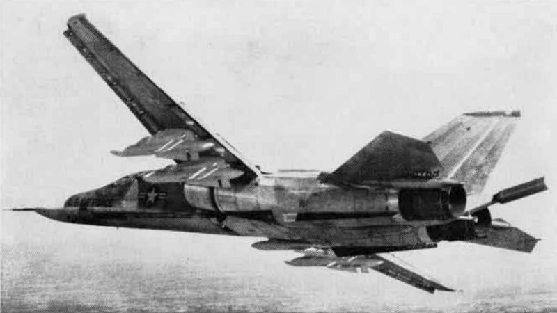 File:F-111A prototype with dummy missiles in flight in ...