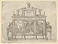 Facade of a triumphal monument with three scenes depicting deeds of Pope Clement VIII, a temporary decoration for the entry of Pope Clement VIII in Bologna in 1598 MET DP837831.jpg