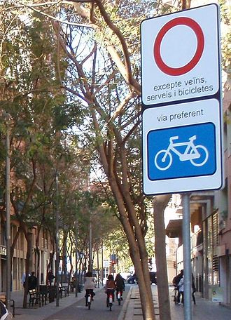 Bicycle boulevard - Bicycle boulevard in Barcelona, Spain