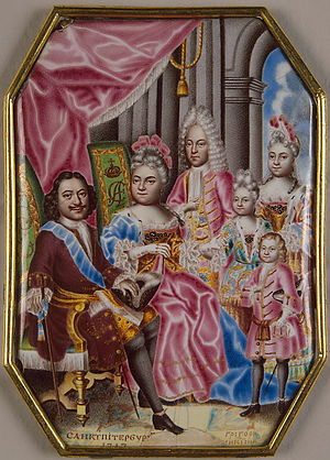 Grand Duchess Anna Petrovna of Russia - Image: Family of Peter I of Russia by G.Muskiyskiy (1716 7, Hermitage)
