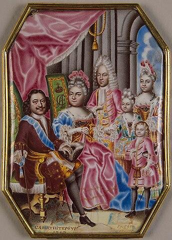 Семья Петра I в 1717: Пётр I, Екатерина, старший сын Алексей Петрович от первой жены, младший двухлетний сын Пётр и дочери Анна и Елизавета