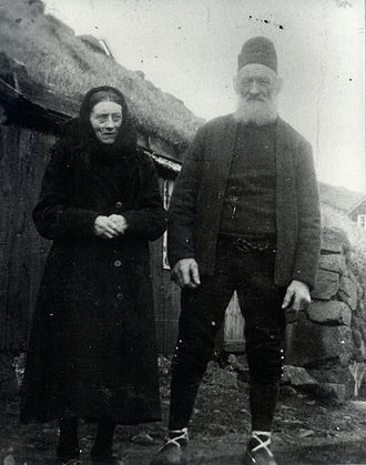 Faroe Islanders - Elderly Faroese couple in the 1940s, wearing their traditional 'Sunday dress' for Church.