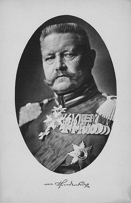 Field Marshal Hindenburg in 1914 Field Marshal Paul von Hindenburg.jpg