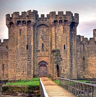 Bodiam Castle - The main gatehouse of Bodiam Castle with the barbican in front and the Octagon in front of that