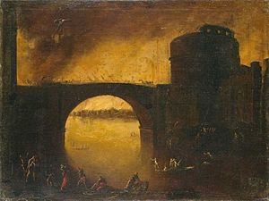 Filippo d'Angeli - Filippo d'Angeli, Construction of a Bridge and Battles on a Bridge (2 fabrics)