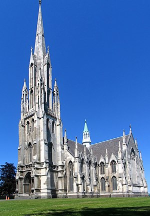 Robert Lawson (architect) - First Church, Dunedin: the principal facade, Lawson's first major work. He won the prestigious commission to design the cathedral-like structure in an architectural competition.